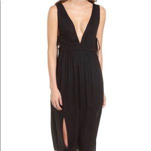 4Si3NNA Deep V Black Midi Dress - NWT - Size M
